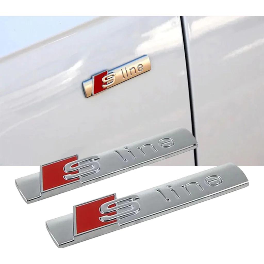 Audı S Lıne Logo 2 ADET Metal Krom Çamurluk Sline Arma A3 A4 A5 A6 İTHAL