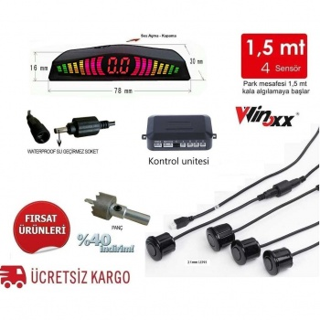 Türkçe Konuşan Led Göstergeli KIRMIZI Park Sensörü (GRİ)