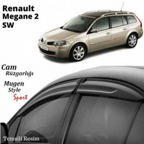 Renault Megane 2 SW Cam Rüzgarlığı (Mugen) Piano Black