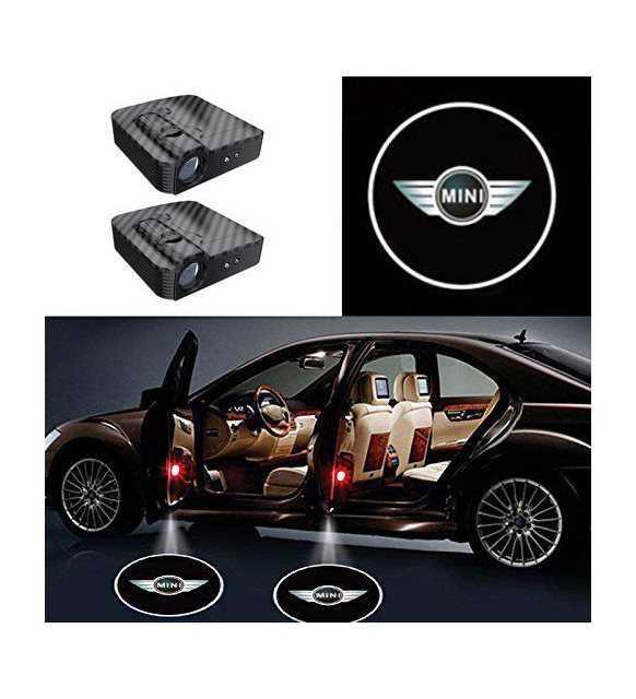 Mini Cooper Uyumlu Karbon Kapı Altı Led Logo Pilli Yapıştırmalı Sensörlü 10W
