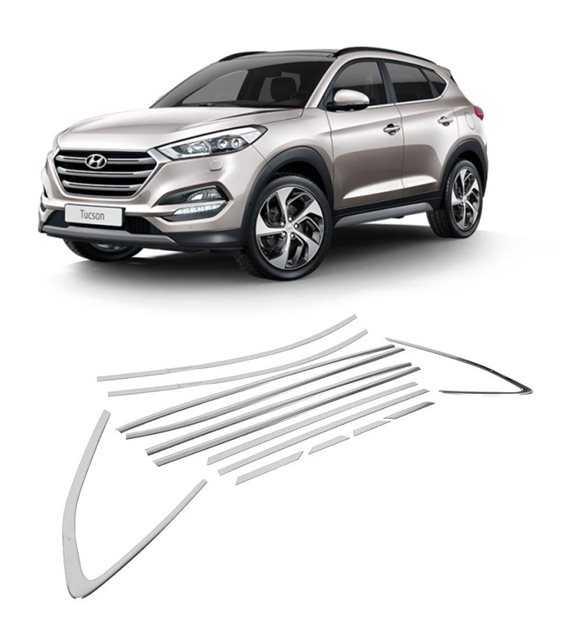 Hyundai Tucson Cam Çerçevesi Kenar Çıtası Krom Tamtur 2016+