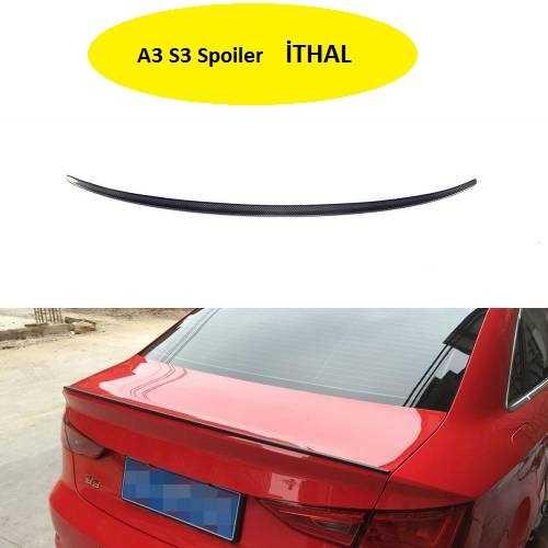 Audi A3 8v Sedan Plastik 2013-2020 PİANO BLACK Boyalı S3 İnce Spoiler